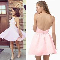 Wholesale Junior Halter Party Dresses - 2017 Modest Pink Little Short Homecoming Dresses Sexy Open Back A Line Halter Neck Junior Graduation Prom Party Gowns Cocktail Dresses Cheap