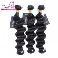 insan saçı örgü renk siyah toptan satış-Greatremy® 9a Siyah Renk Brezilyalı Bakire Saç Demeti Fırsatlar Kadınlar için Gevşek Derin Dalga İnsan Saç Dokuma Moda