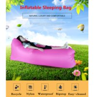 Wholesale cm super long inflatable air sofa Lazy bag Air Sleeping Bag Camping Beach Bed Air Hammock Nylon Banana Sofa lazy Lounger