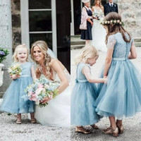 Wholesale Dusty Pink Tulle - 2017 Dusty Blue Tulle Tea Length Country Boho Flower Girls Dresses For Weddings Cheap Short Sleeve Lace Girls Birthday Gown EF6191