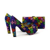 tacones de garras al por mayor-Zapatos de boda hechos a mano multicolores con tacones gruesos de tacón grueso y clutch Craftsman Women Party Vestido de fiesta con bolso a juego
