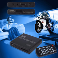 All'ingrosso AU UE US Plug Mini Media Player HDMI Media Box TV Video Multimedia Player Full HD 1080p supporto MPEG / MKV / H.264 HDMI AV USB nero