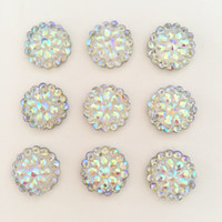 Wholesale Diy Bling Flatback - (20 pieces lot) Bling AB Resin Round Flatback Rhinestone Buttons 2 Hole Clothing DIY accessories D385