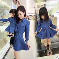 Wholesale Double Breast Girl Dress - Mother and daughter dress girls cowboy double pocket long sleeve dress womens single breasted bowknot belt dress new Family clothes T0536