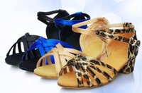 Wholesale Leopard Blue Black Sandal - 24-40 Roman 2017 Sandals indoor blue Elsa Anna girls Ballroom single dance party black brown leopard Low Heels 1-25 womens adult shoes sale