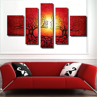 Wholesale Tree Couple Art - 5 Pcs Set Abstract Art Modern Wall Paintings custom theme The tree is intended to be a couple Abstract Canvas Home Decor