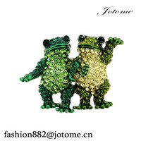 Wholesale brooches frogs resale online - 100PCS inches x inches Multi Green Couple Frog Crystal Pin Brooch