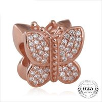 Wholesale Sterling Silver Chamilia Bracelet - 925 sterling silver micro pave cz rose gold butterfly charm Compatible with pandora Charm Bracelets Such Chamilia,Biagi