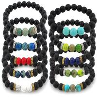 ingrosso venditore di braccialetto-16 Styles Lava Stones 7 Bracciale Chakra Stone Bracciale profumo aromatico Bracciale diffusore olio essenziale Top Seller Preferito B348S