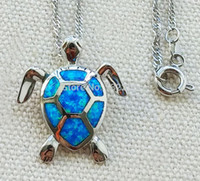 Wholesale Opal Turtle - Cute blue fire opal sea turtle design pendant necklace for women