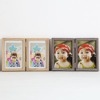 Wholesale Retro Photo Boxes - Vintage Picture Frames Rectangle Carved Retro Rustic Style Home Decor Decoration Wooden Wood Photo Frame Fold Hot Sell 10db J R