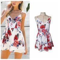 Wholesale Wholesale Peplum Belts - Short Skirt Dresses Casual Womens Racerback v Neck Backless Dress Flower Printing Belt Waist Waist Dress