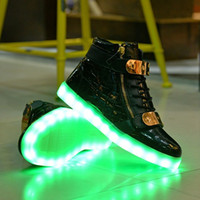 Wholesale Neon Casual Shoes - 2017 Fashion Children's High Top USB Charging LED Light Casual Shoes, Boys and Girls Luminous Neon Basket Sneakers