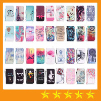 Wholesale Eiffel Tower Wallets - Dont Touch My Phone Owl Eiffel Tower Elephant Wallet PU leather Case for iphone 7 7 Plus Samsung S7 S7 edge Note 7