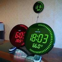 Wholesale Silent Digital Clock - Wholesale-Large LED Digital Oversized Circling Wall Clock Shelf Clocks Modern Design Home Decor Big Silent 3D Watch With Temperature Alarm
