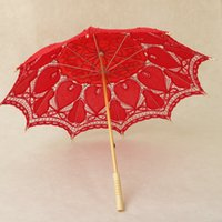 Wholesale Yellow Lace Fans - 100% Cotton Lace Embroidery Ladies Parasol Bridal Umbrella and Hand Fan for Wedding Decoration Shooting Props