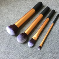 Wholesale Old Hair Brush - RealTECH CORE COLLECTION OLD 4-Pieces Base Face Brush Set Kit - Cheap Price for Clearance - Beauty Cosmetics Makeup Brushes Blender