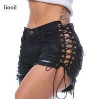 Wholesale Rivets Jean Short - Lace Up Sexy Hollow Out Denim Shorts Fashion Mid Waist Hole Rivet Pockets Shorts Women Black Jean Skinny Summer Shorts 17411