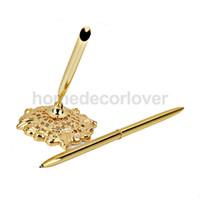 Wholesale Guest Pen Wedding Favor - Wholesale-Golden Signing Pen w.Gorgeous Holder Reception Wedding Guest Sign Signature