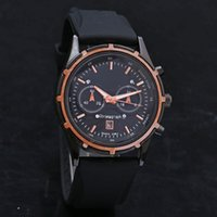 Wholesale Top Cheap Watch Brands - Cheap Top brand Casual Luxury men's watches 2 Eyes Automatic Date Rubber Straps Quartz Writ watch For men boy Reloj Hombre