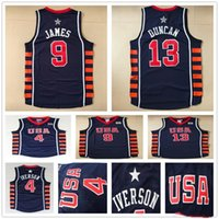 Wholesale Olympic Basketball Jerseys - 2004 Athens Olympic USA Team Basketball Jerseys Dream 6 Navy Blue Throwback #4 Allen Iverson 13 Tim Duncan 9 LeBron James Jersey