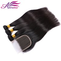 Vente en gros Raw Indian Straight Virgin Hair 3Pcs avec fermeture à laine suisse Ingrédients Indian Virgin Hair Straight Bundle Deals avec fermeture à lacets