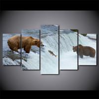 grupos de fotos al por mayor-5 Piezas Sin marco Bear River Grupos pinturas modernas de lona de arte de la impresión cuadro de la pared para el dormitorio personalizado regalo