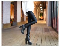 Wholesale Cashmere Leggings Women - New fashion winter women plus cashmere thickening pants burst shine leggings Portugal authentic Huang's shiny pants slim trousers