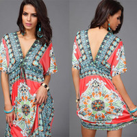 Wholesale Silk Mini Tunic Dress - Boho Style Summer Women Dress Sexy Sundresses Deep V Ethnic Floral Print Tunic Beach Dresses Plus Size Casual Silk Dresses
