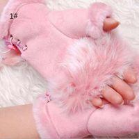 freie mädchen hand handschuhe großhandel-Art- und Weisewinter-warme Mädchen-Leder-Kaninchen-Handwärmer-Herbst-Winter-fingerlose Handschuhe Fingerlose Handschuhe 50pcs Freies Verschiffen