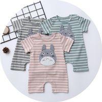 Wholesale Girls Sports Jumpsuits - baby romper sports Stripe Cartoon Boys Bodysuit Summer Totoro Casual Cotton Infant Onesie Cute Toddler Jumpsuit Newborn Clothing C1549