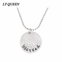 "Wholesale Blessing Mix - Fashion Best Blessing Word ""Blessed"" Shape Round Pendant Necklace Gold Silver Black Mixed Wholesale On Behalf Of The Delivery"