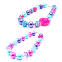 Wholesale Toddler Flower Necklace - 2PCS Newest Design Pink+Blue Flower Necklace Birthday Party Gift For Toddlers Girls Beaded Bubblegum Baby Kids Chunky Necklace Jewelry