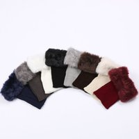 Wholesale Fur Trim Boots - Wholesale- High Qulity 1Pair Fashion Womens Crochet Knit Fur Trim Leg Warmers Winter Cuffs Toppers Boot Socks
