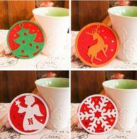Wholesale Snowflake Mugs Wholesale - 2017 Christmas Coaster Christmas Gift Cartoon Coasters for Mugs Heat Insulation Home Decor Christmas Trees Snowflake Dear Angle Snowman