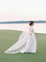 Wholesale Bridal Lace Cathedral Veil - 2017 Vintage Wedding Veils White Veil 3m Cathedral Length Wedding Veiled Bridal Lace Bridal Veils Wedding Custom made