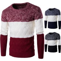 Wholesale Cable Pattern Knitting - Wholesale- Men Thick Patchwork Sweaters Male Cable Knit Pullovers Warmer Color Block Slim Sweater O Neck Korean Stylish Pattern