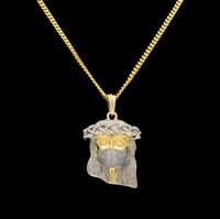 Wholesale Brass Jesus - New Arrivel Hip Hop Men's 18K Gold Plated Mask Jesus Charm Pendant Religious Catholic Jesus Face Piece Pendant Jewelry