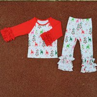 Wholesale Wholesale Ruffled Girls Tshirt - Christmas Kids Clothes Red White Green Elk Printed Icing Raglan Tshirt Girls Clothing Set 2pcs Ruffle Toddler Girls Outfit