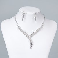 Wholesale Chain Necklace Boys - Cheap Rhinestone Bridal Jewelry Sets Earrings Necklace Crystal Bridal Prom Party Pageant Girls Wedding Accessories Free Shipping 15023