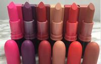 Wholesale Ruby Long - Ruby Woo Diva Rebel Frost Lipstick HOT Lipgloss M Makeup Luster Lipstick Frost Matte Lipstick 3g 6 colors velvet teddy