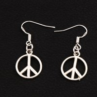 Wholesale Dangle Peace - Peace Sign Earrings 925 Silver Fish Ear Hook 30pairs lot Antique Silver Chandelier 35.8x14.3mm E303