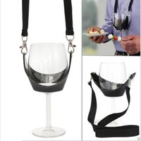 black yoke - Portable Black Wine Glass Holder Strap Wine Sling Yoke Glass Holder Support Neck Strap for Birthday Cocktail Party YA213