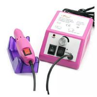 v bits toptan satış-Profesyonel Pembe Elektrikli Tırnak Matkap Manikür Makinesi Matkap Uçları ile 110 v-240 V (AB Tak) Kullanımı kolay Ücretsiz Kargo