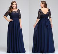 siyah yarı kollu uzun elbiseler toptan satış-Koyu Lacivert Siyah Bordo Yarım Uzun Kollu Artı Boyutu gelinlik Modelleri dantel Üst Bir Çizgi Şifon V Geri anne Gelin Elbiseler Ucuz Abiye CPS522