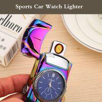 Wholesale Car Yellow Sport Light - Intelligent Electric Lighter windproof USB type Ci-garette lighter sensor rechargeable metal watch sports car novetly lighter