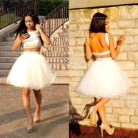 Wholesale Cheap Prom Dresses China Made - 2017 White Satin Top Tulle Puffy Two Pieces Homecoming Dresses Cheap Jewel Backless Short Prom Gowns Custom Made China EF6291