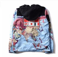 Wholesale Popular Maps - European and American street Jackets popular flag coat world map jacket men's reflecting coat, hat can be removabled Hoodie
