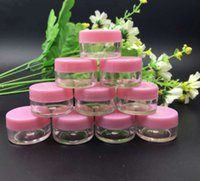 """Wholesale X Stamp - 100pcs Small 5g Light Pink cover Cosmetic Sample Containers 18mm x 29mm (0.7"""" x 1.14"""") Plastic Empty Cream Jars packaging Bottles"""