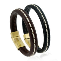 Wholesale magnets for sale free shipping resale online - Hot sale New Fashion PUNK Charm Leather Rope Bracelets for men Magnet Clasp Christmas Gift Jewelry